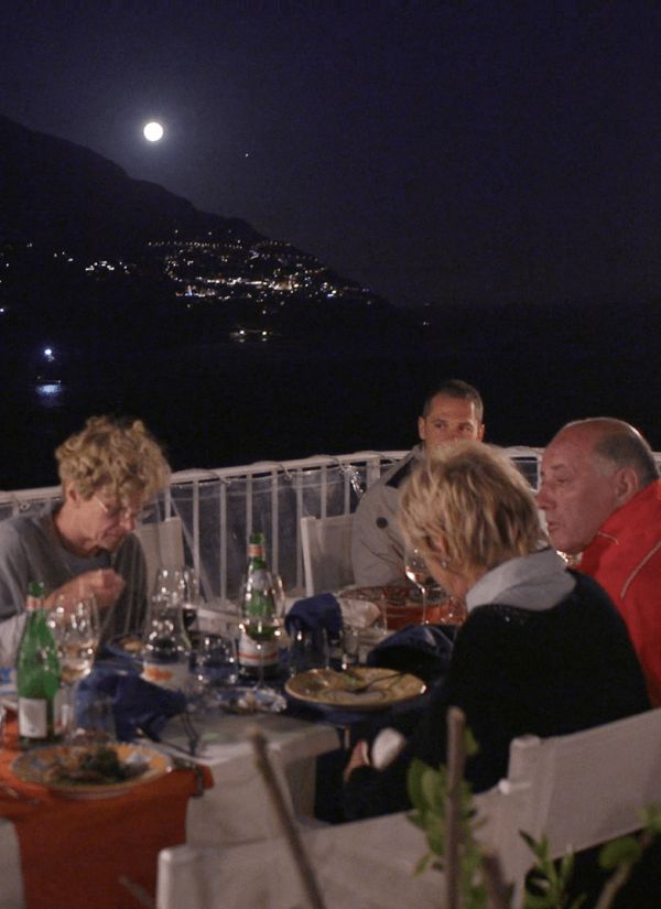 Photo shows how we enjoy dinner while the full moon spread the moonlight